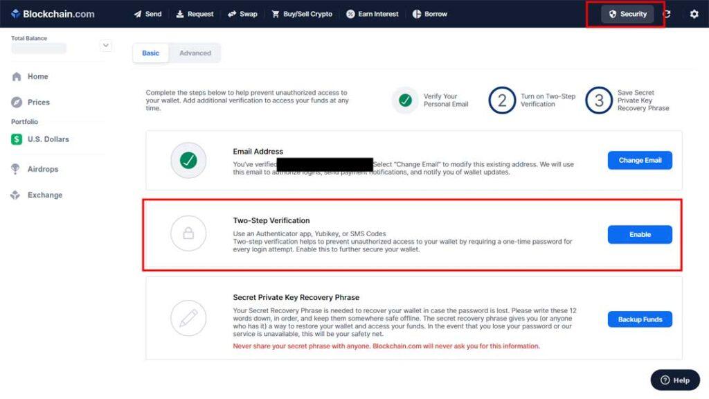 افزایش امنیت حساب بیت کوین